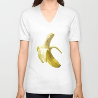 banana V-neck T-shirts featuring Banana by Liam Brazier