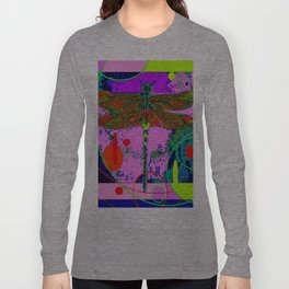 Green Swamp Dragonfly Purple abstract Long Sleeve T-shirt