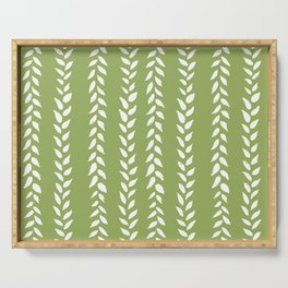 Sap Vines - nature spring leaves green pattern Serving Tray