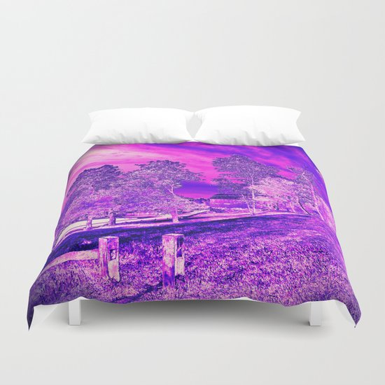 Pink N Purple Rural Scene Duvet Cover