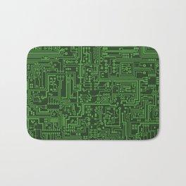 Circuit Board // Light on Dark Green Bath Mat