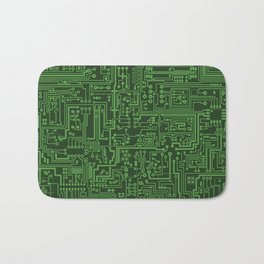 Circuit Board // Light on Dark Green Bath Mat