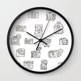 Cameras: Black - pop art illustration Wall Clock