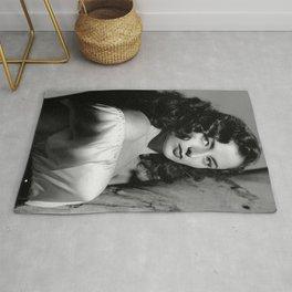 Italian Starlet Actress Elena Maureen Bertolini Hollywood black and white photography - photographs Rug
