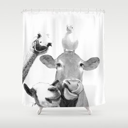 Black and White Farm Animal Friends Shower Curtain