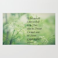 jane eyre Area & Throw Rugs featuring Present and Future Jane Eyre Quote by KimberosePhotography