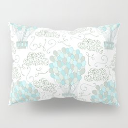 Vintage hot air balloons line drawing pastel turquoise blue Pillow Sham