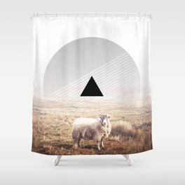 Sheep - triangle graphic Shower Curtain