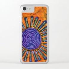 Orange and purple Floral batik Clear iPhone Case