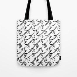 Rough Sea Pattern - black on white Tote Bag