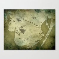 westeros Canvas Prints featuring Fantasy Map of Brooklyn: Green Parchment by Midgard Maps