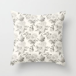 Roses in Grey and Beige Throw Pillow