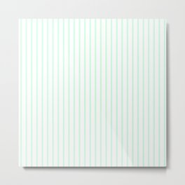 Summermint Green Pinstripe on White Pattern Metal Print
