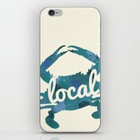 maryland iPhone & iPod Skins featuring Maryland Blue Crab Local by O'Postrophy