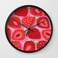 strawberry Wall Clocks featuring Strawberry by Helene Michau