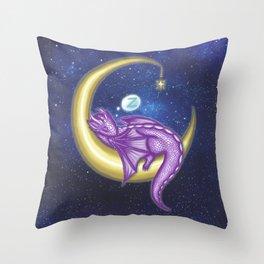 Purple Baby Moon Dragon Throw Pillow