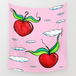 Flying Apple Hearts Wall Tapestry
