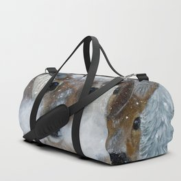 Deer in the Snowy Woods Duffle Bag