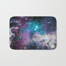 Lavender Teal Star Nursery Bath Mat