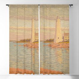 New London Connecticut Lighthouse by William Anderson Coffin Blackout Curtain