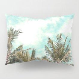 Wild and Free Vintage Palm Trees - Kaki and Turquoise Pillow Sham