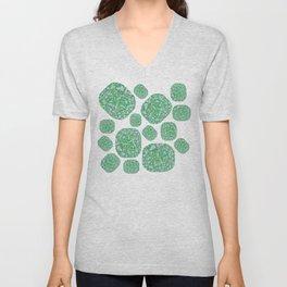 Green Cushion Gem Pattern Unisex V-Neck