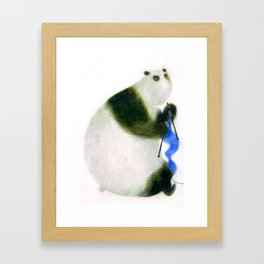"""Un panda tricote..."" Book cover Framed Art Print"