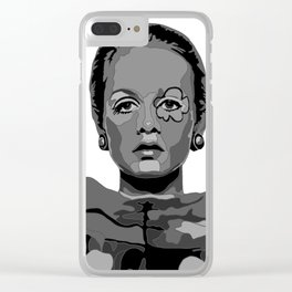 Twiggy Black and White 2 Clear iPhone Case