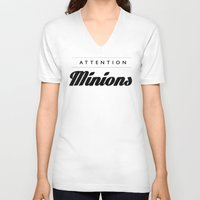 minions V-neck T-shirts featuring Attention Minions by satanssweetheart