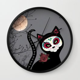 Day of the Dead Cat Wall Clock
