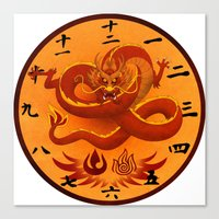 airbender Canvas Prints featuring Avatar The Last Airbender Fire Clock Face by Art of Sara