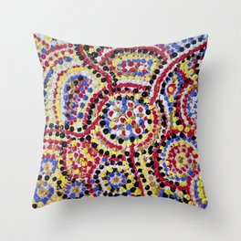 ELDERS MEETING OF THE DREAMING 3 Throw Pillow