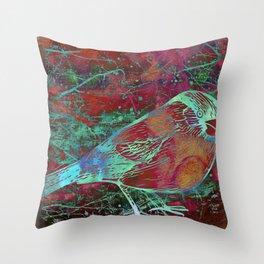 Mixed Media Bird Throw Pillow