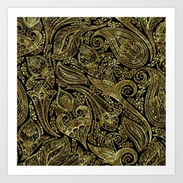 Black and gold ethnic paisley pattern Art Print