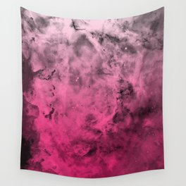 Liquid Space Nebula : Gray to Pink Ombre Gradient Wall Tapestry