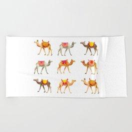 Cute watercolor camels Beach Towel