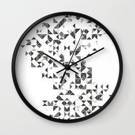 TRIANGLES B&W Geometric print Wall Clock