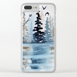 """Gold & Indigo Forest"" watercolor painting Clear iPhone Case"