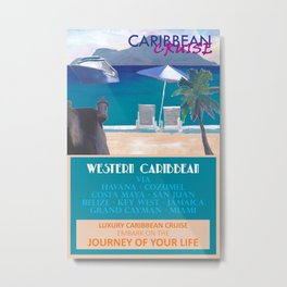 Western Caribbean Cruise Retro Travel Poster Metal Print