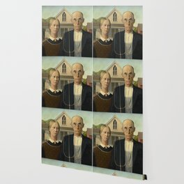 American Gothic by Grant Wood Wallpaper