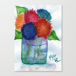 Hydrangea Flower Watercolor Painting Canvas Print