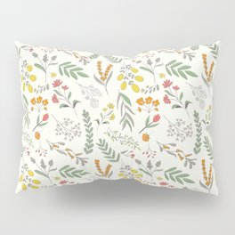 colorful flowers and foliage scattered on white background Pillow Sham