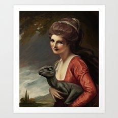 Lady Hamilton with velociraptor  Art Print