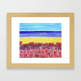 Poppies by the Beach Framed Art Print