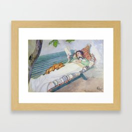 Carl Larsson  -  Woman Lying On A Bench Framed Art Print