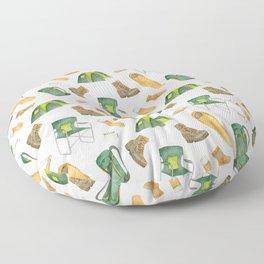 Watercolor camping pattern Floor Pillow
