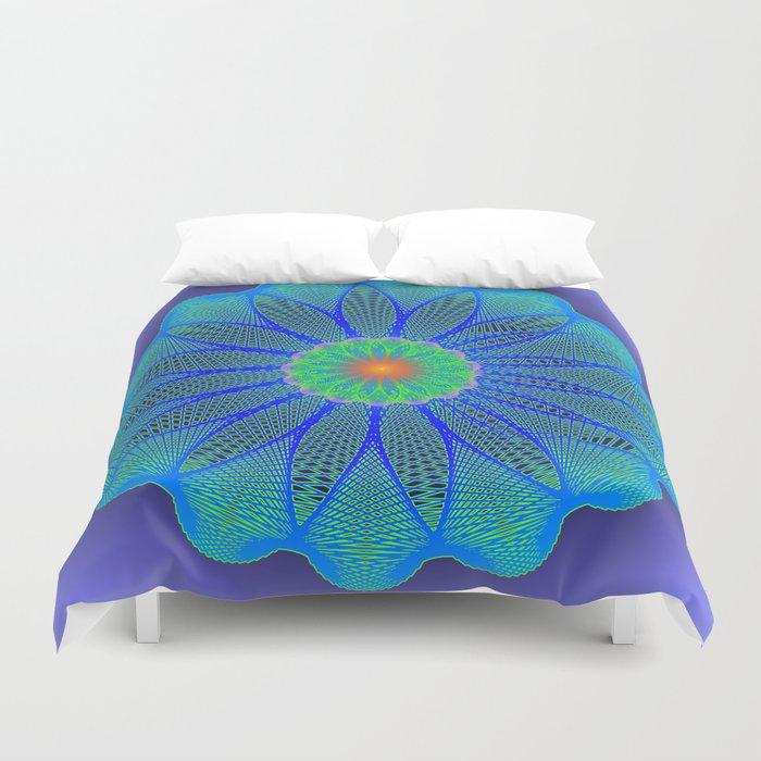Spirographic Radial Pattern cyan blue Duvet Cover