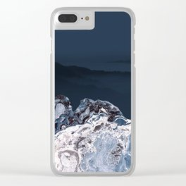 BLUE MARBLED MOUNTAINS Clear iPhone Case