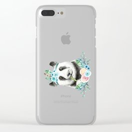 Watercolor Floral Spray Boho Panda Clear iPhone Case