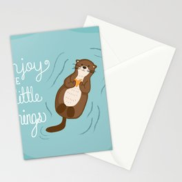 """""""Enjoy the little things"""" Otter Print Stationery Cards"""